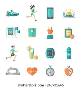 Jogging and fitness icons flat set with stopwatch apple bottle isolated vector illustration