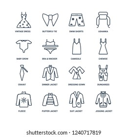 jogging jacket, suit puffer Fleece, Dungarees, vintage dress, Baby Grow, Cravat, Camisole outline vector icons from 16 set