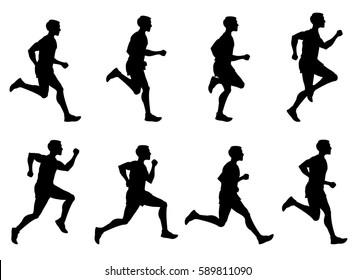 Jogging man, running athlete, runner vector silhouettes set