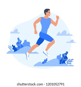 Jogging man surrounded by plants. Flat style vector illustration isolated on white
