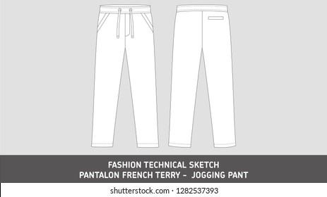 Jogging Pant Pantalon French Terry Fashion Stock Vector Royalty Free 1282537393