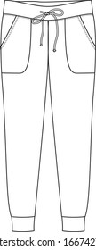 JOGGING PANTS fashion flat sketch, apparel template. High-waisted pants with adjustable drawstring elastic waistband.
