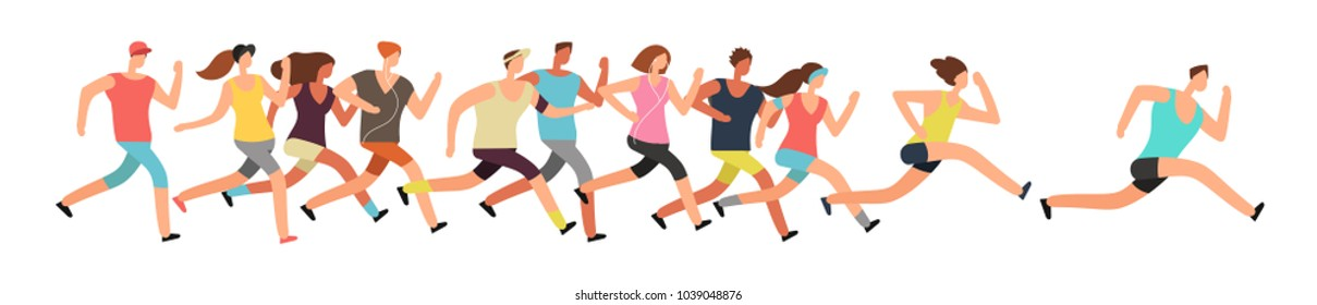 Jogging people. Runners group in motion. Running men and women sports background. People runner race, training to marathon, jogging and running illustration