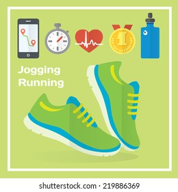 Jogging and running concept flat icons of gym, healthy food, metrics. Isolated vector illustration and modern design element
