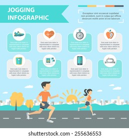 Jogging and running infographics set with people running outdoor vector illustration