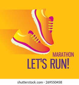 Jogging and running marathon concept flat icon with sneakers and text. Modern icon illustrations in flat style