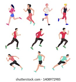 Jogging and running people. Runners in motion. Running men sports.