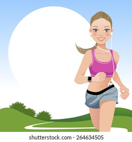 Jogging woman outdoor with countryside background.File contains Gradient, Gradient mesh, Clipping mask, Transparency.