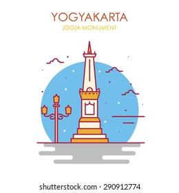 Jogjakarta Monument Vector Illustration, Jogjakarta Indonesia