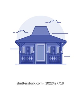 Joglo house illustration vector isolated collection