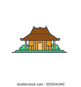 Joglo - indonesian traditional house illustration. Available in EPS vector format you can resize without losing quality.