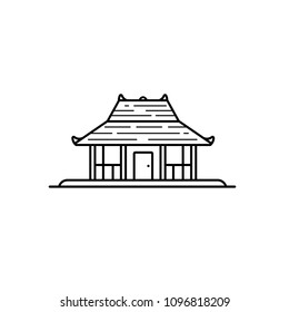 Joglo - indonesian traditional house, line art illustration. Available in EPS vector format you can resize without losing quality.
