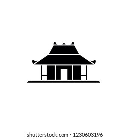 Joglo, Indonesian Traditional House, Simple Vector Illustration