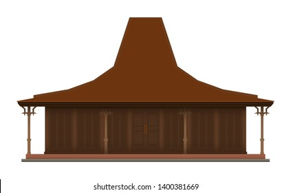 Joglo, Javanese Traditional Building, Isolated Vector