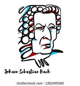 Johann Sebastian Bach engraved vector portrait with ink contours. German composer and musician of the Baroque period.