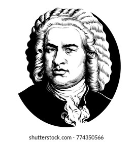 Johann Sebastian Bach. Great German composer and musician. Hand drawn vector portrait isolated on white background.