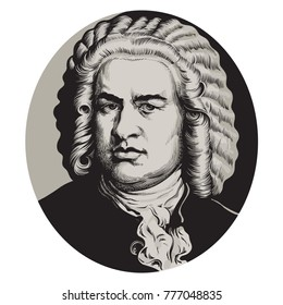 Johann Sebastian Bach. Great German composer and musician. Hand drawn vector portrait in the style of engraving isolated on white background.