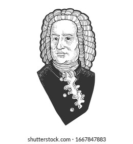 Johann Sebastian Bach portrait sketch engraving vector illustration. T-shirt apparel print design. Scratch board imitation. Black and white hand drawn image.