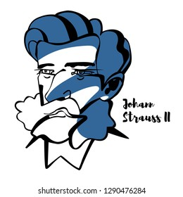 "Johann Strauss II engraved vector portrait with ink contours. He was an Austrian composer of light music, particularly dance music and operettas. He was known as ""The Waltz King""."