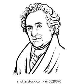 Johann Wolfgang von Goethe Hand Drawing outline, United Kingdom, Johann Wolfgang von Goethe on white background