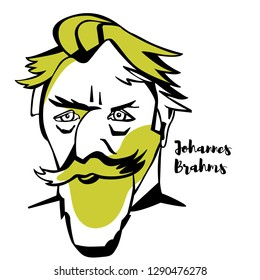 Johannes Brahms engraved vector portrait with ink contours. German composer and pianist of the Romantic period, composed for symphony orchestra, chamber ensembles, piano, organ, and voice and chorus.