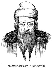 Johannes Gutenberg (1395-1468) portrait in line art illustration. He was German inventor and first printer, publisher of the first European Bible.