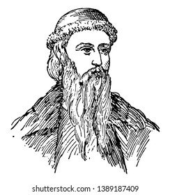 Johannes Gutenberg, c. 1400-1468, he was a German blacksmith, goldsmith, printer, and publisher who introduced printing to Europe, vintage line drawing or engraving illustration
