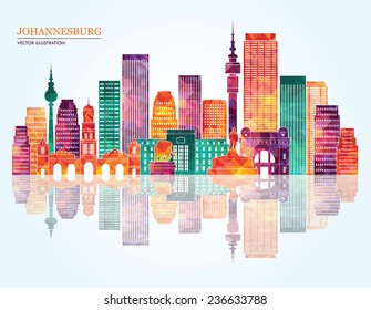 Johannesburg city detailed skyline silhouette. Vector illustration