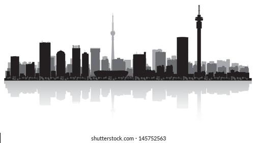 Johannesburg city skyline silhouette vector illustration