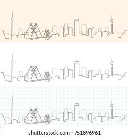 Johannesburg Hand Drawn Skyline