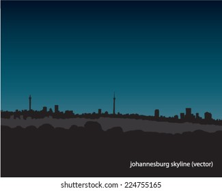 Johannesburg skyline cityscape landscape dark blue evening vector illustration city