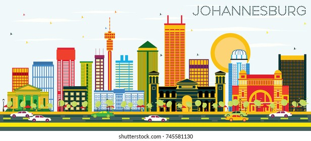 Johannesburg Skyline with Color Buildings and Blue Sky. Vector Illustration. Business Travel and Tourism Concept with Johannesburg Modern Buildings. Image for Presentation and Banner.