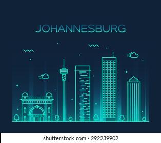 Johannesburg skyline, detailed silhouette. Trendy vector illustration, linear style.