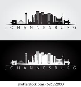 Johannesburg skyline and landmarks silhouette, black and white design, vector illustration.