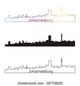 Johannesburg skyline linear style with rainbow in editable vector file
