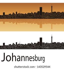 Johannesburg skyline in orange background in editable vector file