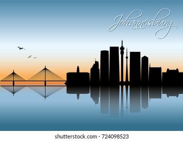 Johannesburg skyline - South Africa - vector illustration