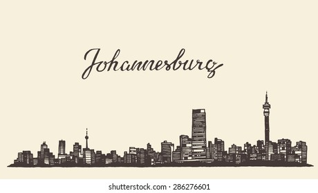 Johannesburg skyline images stock photos vectors shutterstock johannesburg skyline vintage vector engraved illustration hand drawn sketch thecheapjerseys Images