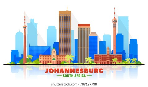 Johannesburg, ( South Africa ) city skyline vector illustration white background. Business travel and tourism concept with modern buildings. Image for presentation, banner, web site.