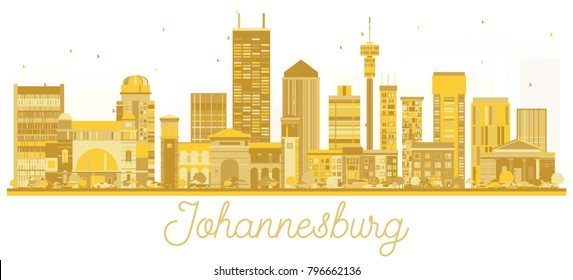 Johannesburg South Africa City skyline golden silhouette. Simple flat concept for tourism presentation, banner, placard or web site. Johannesburg Cityscape with landmarks.