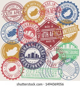 Johannesburg South Africa Set of Stamps. Travel Stamp. Made In Product. Design Seals Old Style Insignia.