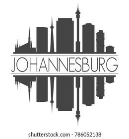 Johannesburg South Africa Skyline Vector Art Mirror Silhouette Emblematic Buildings