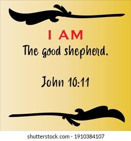 John 10:11 - Jesus' I AM the good shepherd vector statements on gradient yellow in gospel of John in the Bible's new testament for scripture encouragement.