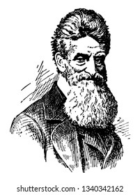 John Brown 1800 to 1859 he was an American abolitionist he led a raid on the federal armoury at Harpers Ferry to start a liberation movement in 1858 vintage line drawing or engraving illustration