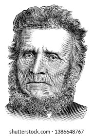 John Brown, 1800-1859, he was an American abolitionist, he led a raid on the federal armoury at Harpers Ferry to start a liberation movement in 1858, vintage line drawing or engraving illustration