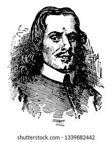 John Bunyan 1628 to 1688 he was an English writer and puritan preacher famous as the author of the Christian allegory The Pilgrims Progress vintage line drawing or engraving illustration