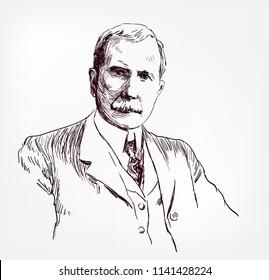 John Davison Rockefeller vector sketch illustration portrait face
