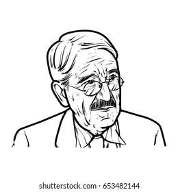 John Dewey Hand Drawing outline, John Dewey vector illustration, American philosopher