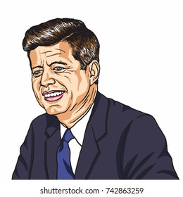 John F Kennedy Portrait. Cartoon Caricature Vector Illustration. October 27, 2017
