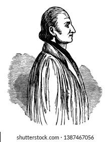 John Frederick Oberlin, 1740-1826, he was a Alsatian pastor and a philanthropist, vintage line drawing or engraving illustration